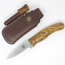 TBS Boar Folding Lock Knife - Olive Wood with Firesteel Belt Pouch